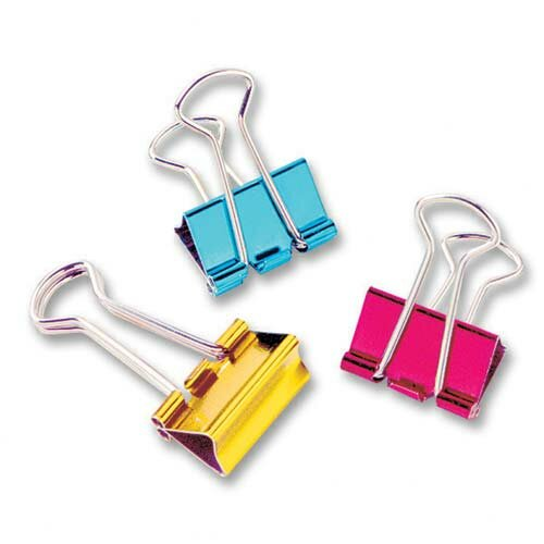 "Baumgartens Mini Binder Clip, 1/2"", 12 per Pack, Metallic Assorted"