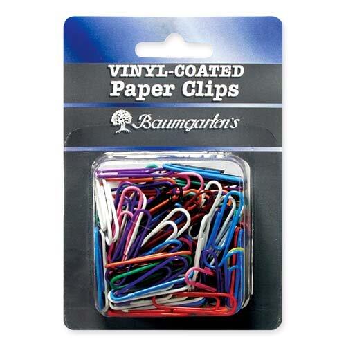 Baumgartens Paper Clips, Jumbo, Vinyl, 40/PK, Assorted