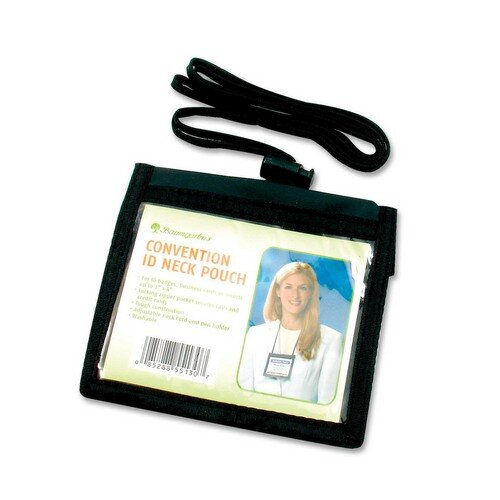 "Baumgartens ID Neck Pouch,Convention,Adjustable 30"" Cord,4""x3"",Black"