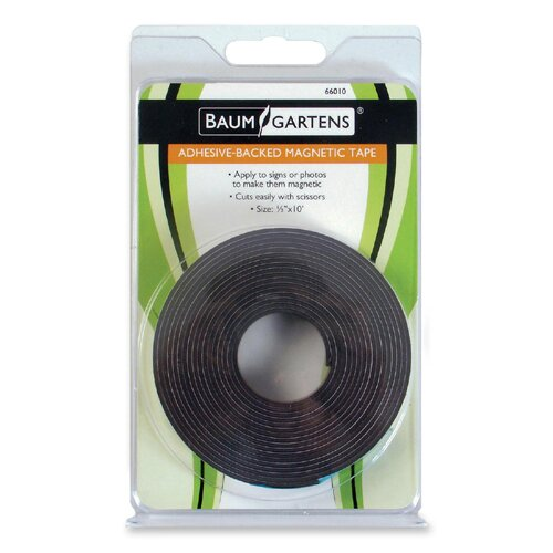 "Baumgartens Adhesive Magnetic Tape, Flexible, 1/2""x10', Black"