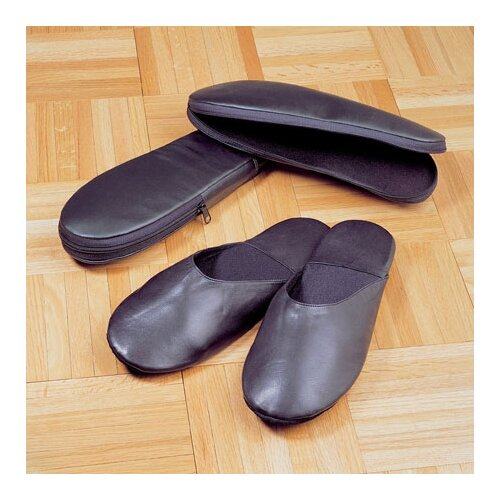 Cowhide Nappa Leather Travel Slippers with Case