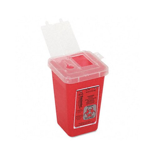 Impact Sharps Waste Receptacle, Square, Plastic, 1qt, Red