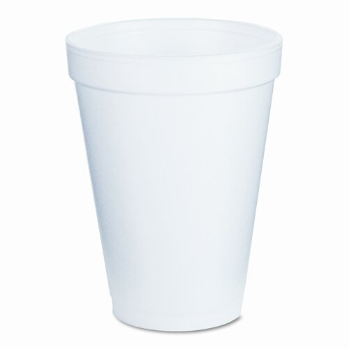Dart Container Corp. Drink Foam  Cups, 12 Ounces, White, 40 Bags of 25 Per Carton