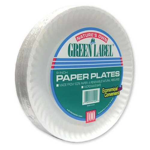 """AJM Packaging Corporation Paper Plates, Green Label, 9"""" Plate, 1200/CT, White"""