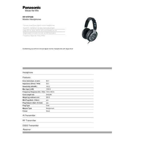 Panasonic® Monitor Style Headphones