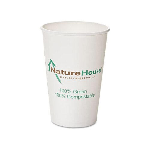 Savannah Supplies Inc. Naturehouse Compostable Paper/Pla Cup, 10 Oz, 50/Pack