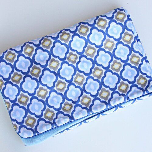 Ikat Mod Blue Piped Blanket