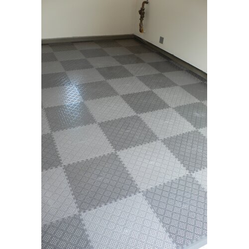 Norsk Floor Raised Diamond Pattern Garage PVC Floor Tile in Metallic Graphite (Pack of 6)