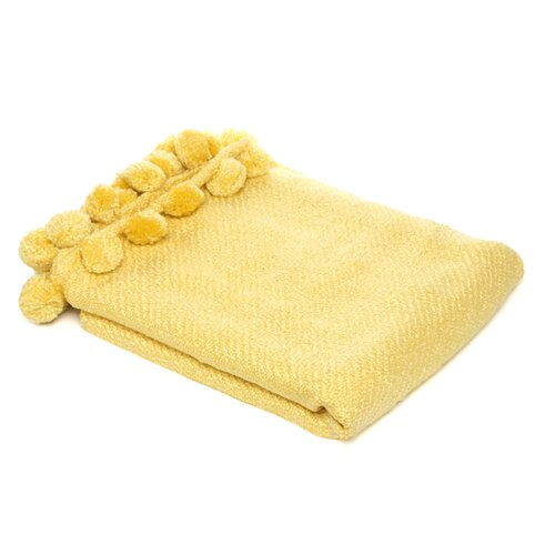 Jubilee 3 Dimensional Pom Pom Fringe Acrylic Throw in Yellow