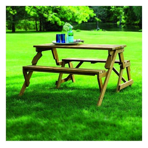 Atlantic Outdoor Convertible Wood Picnic Table Garden Bench Reviews Wayfair