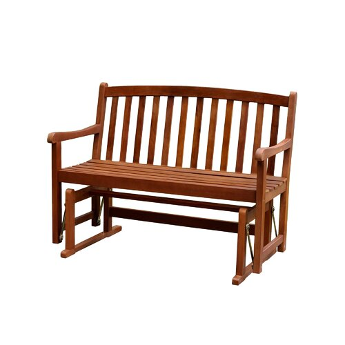 Atlantic Outdoor Glider Wood Garden Bench Reviews Wayfair