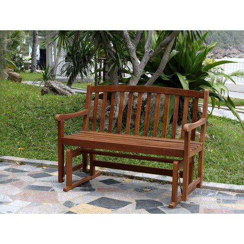 Atlantic outdoor glider wood garden bench amp reviews wayfair