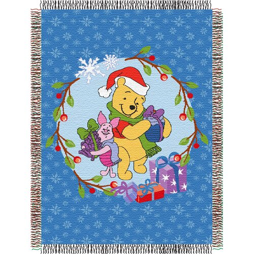 Northwest Co. Entertainment Tapestry Holiday Throw Blanket - Pooh - Home Made Holiday