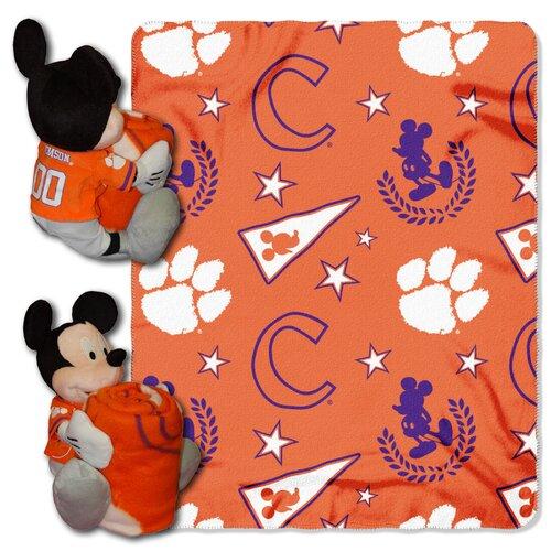 NCAA Clemson Mickey Mouse Polyester Fleece Throw