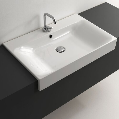 Recessed Bathroom Sink : WS Bath Collections Cento Ceramic Semi-Recessed Bathroom Sink ...