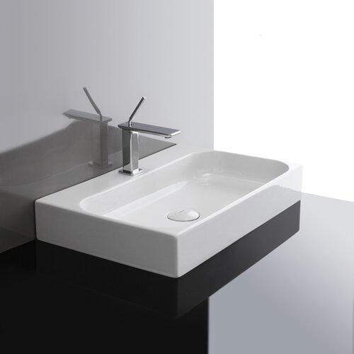 Unit Ceramic Wall Mounted Vessel Bathroom Sink