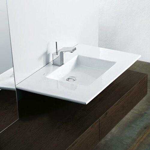 Techno Ceramic Wall Mounted Vessel Bathroom Sink