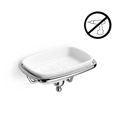 Venessia Self-Adhesive Single Holder with Ceramic Soap Dish