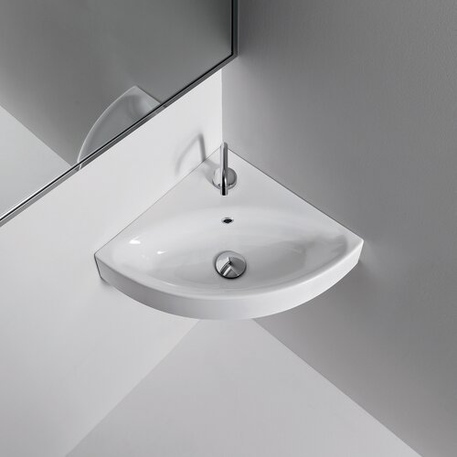 WS Bath Collections Kerasan Cento Wall Mounted / Vessel Bathroom Corner Sink