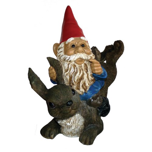 Garrold Gnome On Rabbit Statue