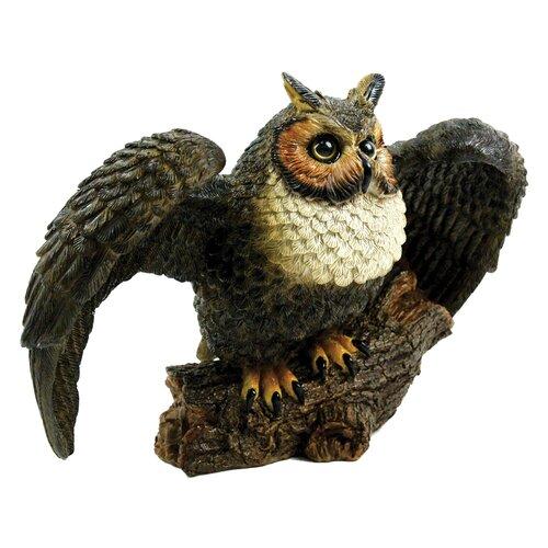 Great Horned Owl Spread Wings Statue