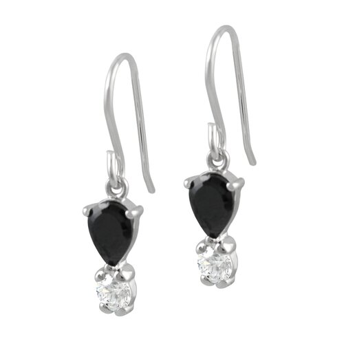 Skyline Silver Sterling Silver Black and Clear CZ Necklace and Earring Set