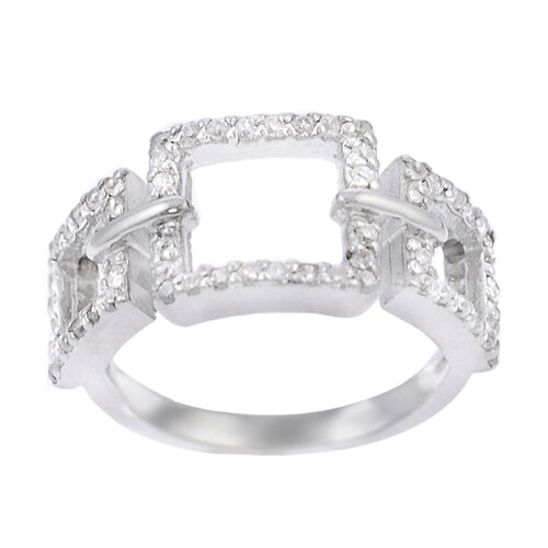 Sterling Silver CZ Accented 3 Square Ring