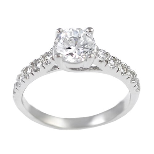 Sterling Silver Round Cut CZ Accented Ring