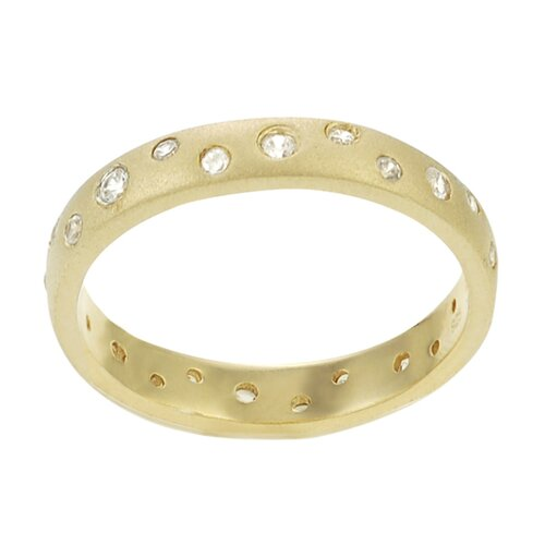 Gold Plated Sterling Silver Matte CZ Accented Ring
