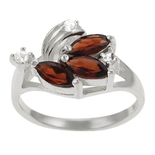 Sterling Silver Unique Garnet Ring