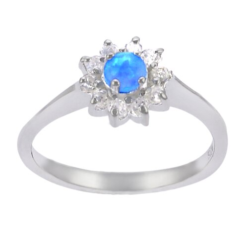 Sterling Silver Blue Opal Center with CZ Accent Ring