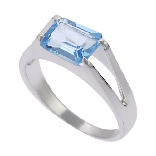 Skyline Silver Sterling Silver Genuine Blue Topaz Rectangular Cut Ring