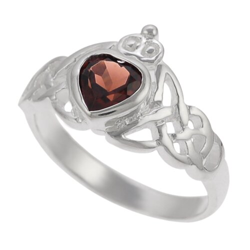 Skyline Silver Sterling Silver Genuine Garnet Celtic Ring