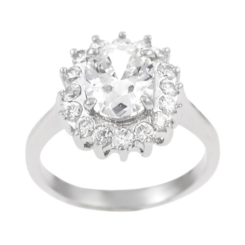 Sterling Silver Center Oval Cut CZ Ring