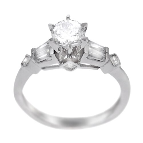 Sterling Silver Round Cut CZ with Side Stones Ring