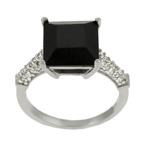 Sterling Silver Black Square Cut CZ Ring