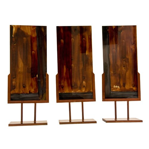 Handmade Sculptural Panel with Iron Stands (Set of 3)