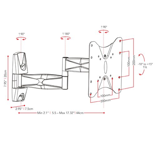"dCOR design Articulating/Tilt/Swivel Wall Mount for 17"" - 37"" Flat Panel Screens"