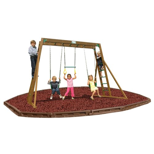 Playtime Swing Sets Classic Top Ladder Swing Set with Rubber Mulch