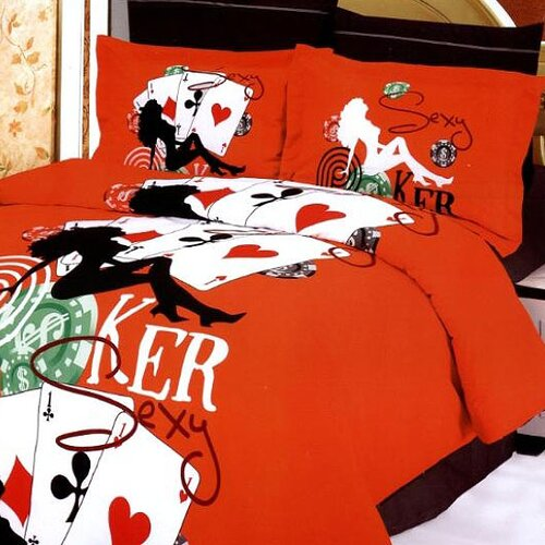 Le Vele Poker 6 Piece Full / Queen Duvet Cover Set