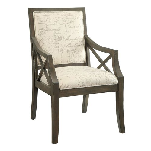 Driftwood French Script X Arm Chair