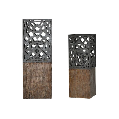 Crestview Collection De Luca Resin Candlesticks (Set of 2)