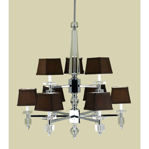 AF Lighting Cluny 9 Light Chandelier with Poly Silk Shade