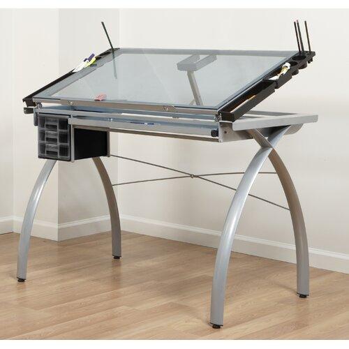 "Studio Designs Futura Station Glass 43""W x 24""D Drafting Table"