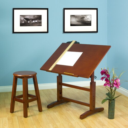 "Studio Designs Creative Hardwood 36""W x 24""D Drafting Table and Stool Set"