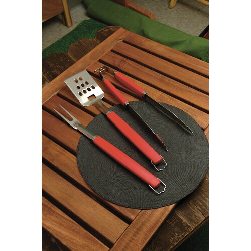 Charcoal Companion Perfect Chef™ 3 Piece BBQ Tool Set with Red Handle