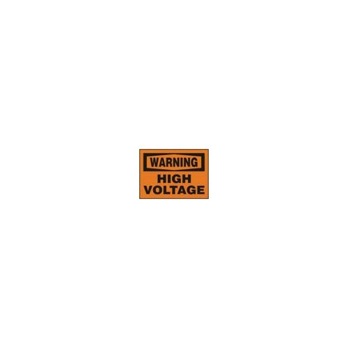 "Accuform Manufacturing Inc X 10"" Black And Orange Adhesive Vinyl Value™ High Voltage And Hazard Sign Warning High Voltage"