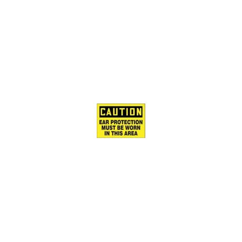 "Accuform Manufacturing Inc X 10"" Black And Yellow Adhesive Vinyl Value™ Hearing Protection Sign Caution Ear Protection Must Be Worn In This Area"