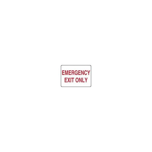 "Accuform Manufacturing Inc X 10"" Red And White Adhesive Vinyl Value™ Fire And Emergency Exit Sign Emergency Exit Only"