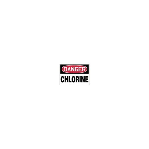 """Accuform Manufacturing Inc X 10"""" Red, Black And White Adhesive Vinyl Value™ Chemical Identification Sign Danger Chlorine"""